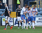Kilmarnock&rsquo;s Steven Smith is congratulated after scoring his side's second goal  - Dundee v Kilmarnock, Ladbrokes Premiership at Dens Park <br /> <br />  - &copy; David Young - www.davidyoungphoto.co.uk - email: davidyoungphoto@gmail.com