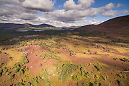 An aerial photograph overlooking rothiemurchus forest.  Cairngorms National Park, Scotland.