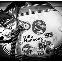 Close-up of Ollie Hancock's helmet, Silverstone Classic 2016, Silverstone Circuit, England. U.K.