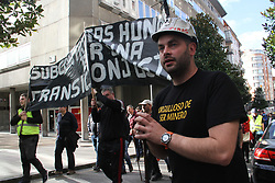 November 22, 2018 - gijon, Spain - There were 800 miners have been left out of the coal plan and have been rein vindicated with the black march a fair energetic transition. (Credit Image: © Mercedes Menendez/Pacific Press via ZUMA Wire)