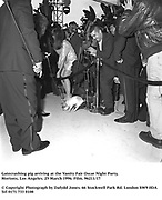 Gatecrashing pig arriving at the Vanity Fair Oscar Night Party. ( It was assumed he was the star of Babe. )<br />