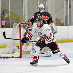 """FORT FRANCES, ON - May 2, 2015 : Central Canadian Junior """"A"""" Championship, game action between the Fort Frances Lakers and the Soo Thunderbirds, Championship game of the Dudley Hewitt Cup. Jaren Bellini #14 of the Soo Thunderbirds pursues the play during the third period.<br /> (Photo by Shawn Muir / OJHL Images)"""