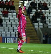 Morecambe substitute keeper Tony Thompson keeps a clean sheet during the Sky Bet League 2 match between Morecambe and Dagenham and Redbridge at the Globe Arena, Morecambe, England on 1 December 2015. Photo by Pete Burns.