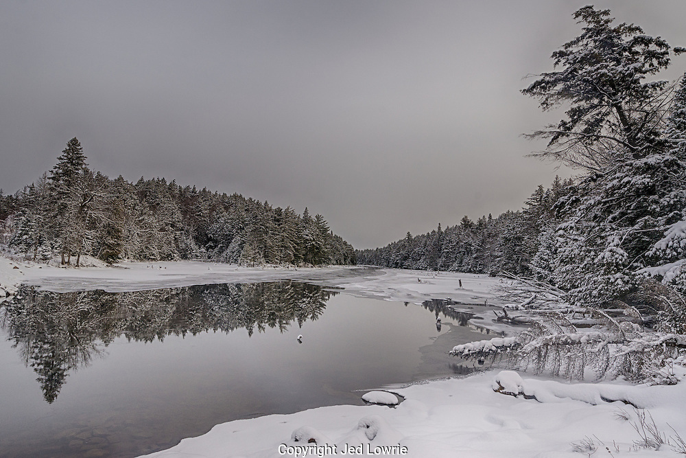 This overcast day in the Algonquin National Park created a soothing, almost monochrome look. It's a good thing I had snowshoes hiking down to the river, the snow was about six feet deep.