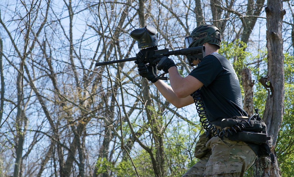 The blue team comes under fire during the final force on force shoot out of the Airforce ROTC's mobile exercise on April 16, 2016. Photo by Ohio University / Kaitlynn Stone