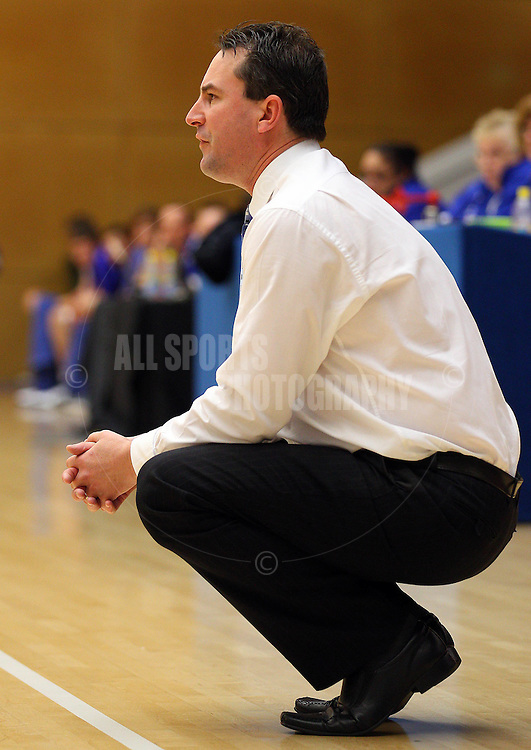 PERTH, AUSTRALIA - JULY 16: Tigers coach Shayne Hampel looks on during the week 18 SBL game between the Perry Lakes Hawks and the Willetton TIgers at The State Basketball Center on July 16, 2011 in Perth, Australia.  (Photo by Paul Kane/All Sports Photography)