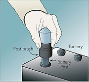 A vector illustration of a battery brush showing the terminal brush cleaning a battery terminal.