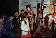 Year 6 pupils in a Victorian slaughterhouse at the Thackray Medical Museum in Leeds....