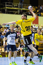 Matic Vrecar of Gorenje during the handball match between RK Gorenje Velenje and SG Flensburg-Handewitt (GER) in 10th Round of EHF Champions League 2014 on February 22, 2014 in Rdeca Dvorana, Velenje, Slovenia. Photo by Matic Klansek Velej / Sportida