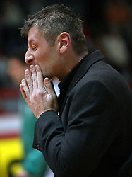Coach of Zlatorog Lasko Damjan Novakovic when his team lost at basketball game Zlatorog Lasko - Krka in in the first match of quarter-final of Spar Cup, on February 7, 2008 in Ljubljana, Slovenia.   (Photo by Vid Ponikvar / Sportal Images).