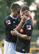 Picture by David Horn/Focus Images Ltd +44 7545 970036<br /> 16/07/2013<br /> Shaun Whalley of Luton Town (right) is congratulated by team mate Jon Shaw during the Pre Season Friendly match at Top Field, Hitchin.