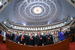 Members of the 12th National Committee of the Chinese People's Political Consultative Conference (CPPCC) sing national anthem during the opening meeting of the fourth session of the 12th CPPCC National Committee at the Great Hall of the People in Beijing, capital of China, March 3, 2016. EXPA Pictures © 2016, PhotoCredit: EXPA/ Photoshot/ Pang Xinglei<br />