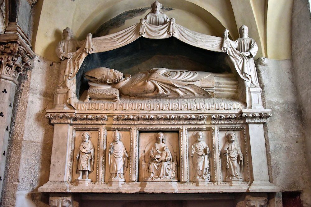 Arnir Sarcophagus Inside Cathedral of Saint Domnius in Split, Croatia <br />