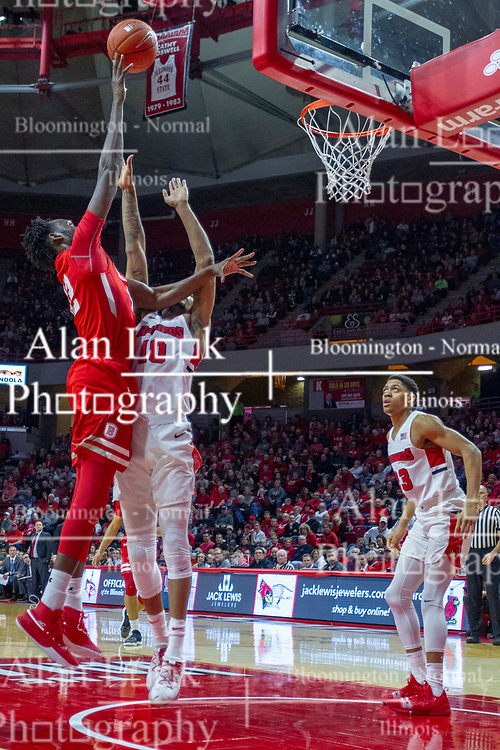 NORMAL, IL - February 16: Koch Bar shoots over Phil Fayne with William Tinsley watching in anticipation of a rebound during a college basketball game between the ISU Redbirds and the Bradley Braves on February 16 2019 at Redbird Arena in Normal, IL. (Photo by Alan Look)