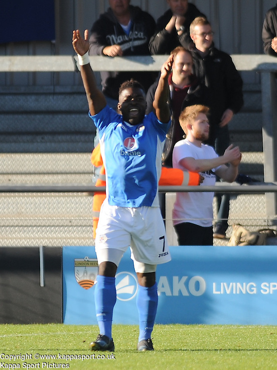 Eastleighs Yemi OduBade, protests after their goal is ruled offside, Barnet v Eastleigh, Vanarama Conference, Saturday 4th October 2014