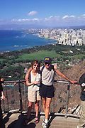 Couple at Diamond Head Lookout, Waikiki, Oahu, Hawaii<br />