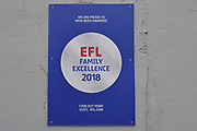 EFL Family Excellence 2018 sign during the EFL Sky Bet League 2 match between Grimsby Town FC and Oldham Athletic at Blundell Park, Grimsby, United Kingdom on 15 September 2018.