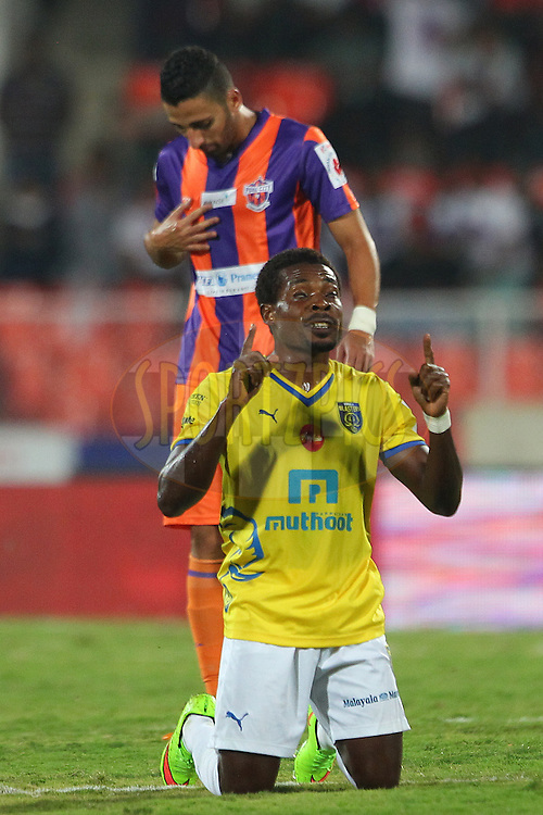 Kerala Blasters FC captain Penn Orji celebrates the win during match 17 of the Hero Indian Super League between FC Pune City<br /> and Kerala Blasters FC held at the Shree Shiv Chhatrapati Sports Complex Stadium, Pune, India on the 30th October 2014.<br /> <br /> Photo by:  Ron Gaunt/ ISL/ SPORTZPICS