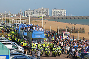 Police escort the Brighton Team Bus at the start of the Brighton & Hove Albion Football Club Promotion Parade at Brighton Seafront, Brighton, East Sussex. United Kingdom on 14 May 2017. Photo by Ellie Hoad.