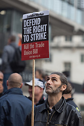 © Licensed to London News Pictures. 02/11/2015. London, UK. Members of the Trades Union Congress (TUC) and supporters arrive to participate in a rally against the Trade Union Bill and the right to strike in Westminster, London. Photo credit : Vickie Flores/LNP