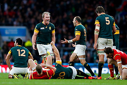 Schalk Burger and tryscorer Fourie du Preez (capt) celebrate after South Africa win the match 23-19 - Mandatory byline: Rogan Thomson/JMP - 07966 386802 - 17/10/2015 - RUGBY UNION - Twickenham Stadium - London, England - South Africa v Wales - Rugby World Cup 2015 Quarter Finals.
