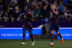 April 27, 2018 - Valencia, Valencia, Spain - Roger (R) of Levante UD celebrates after scoring next to his teammate Boateng of Levante UD during the La Liga game between Levante UD and Sevilla FC at Ciutat de Valencia on April 27, 2018 in Valencia, Spain  (Credit Image: © David Aliaga/NurPhoto via ZUMA Press)