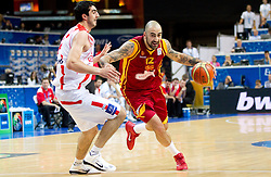 Giorgi Shermadini of Georgia vs Pero Antic of Macedonia during basketball game between National basketball teams of  Georgia and Former Yugoslav Republic of Macedonia at FIBA Europe Eurobasket Lithuania 2011, on September 8, 2011, in Siemens Arena,  Vilnius, Lithuania. (Photo by Vid Ponikvar / Sportida)