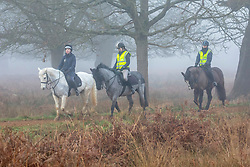 © Licensed to London News Pictures. 05/02/2020. London, UK. Horse riders enjoy the dense fog in Richmond Park this morning as weather experts predict more fog followed by high winds and heavy rain for the weekend. Photo credit: Alex Lentati/LNP
