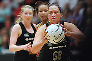 New Zealand's Cathrine Latu against South Africa in the New World Quad series netball match, TECT Arena, Tauranga, New Zealand, Sunday, October 28, 2012. Credit:NINZ / Dianne Manson.