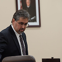 Robert Don Lohbeck, Deborah Green's counsel, as the court goes into a recess on Monday morning of the Green trial at the 13th Judicial District Courthouse in Grants.