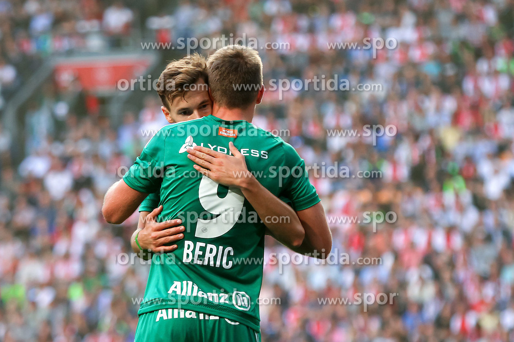 04.08.2015, Amsterdam Arena, Amsterdam, NLD, UEFA CL, Ajax Amsterdam vs SK Rapid Wien, Qualifikation, 3. Runde, Rückspiel, im Bild Stefan Stangl (SK Rapid Wien), Robert Beric (SK Rapid Wien)// during the UEFA Champions League Qualifier 3rd round, 2nd Leg Match between Ajax Amsterdam and SK Rapid Wien at the Amsterdam Arena in Amsterdam, Netherlands on 2015/08/04. EXPA Pictures © 2015, PhotoCredit: EXPA/ Sebastian Pucher