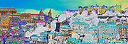 Digitally enhanced image of a the view from the Miradouro de Sao Pedro de Alcantara in the Bairro Alto, Lisbon, Portugal