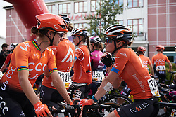 Heidi Franz (USA) and Marianne Vos (NED) chat before Ladies Tour of Norway 2019 - Stage 2, a 131 km road race from Mysen to Askim, Norway on August 23, 2019. Photo by Sean Robinson/velofocus.com
