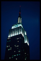 New York, Empire State Building at dusk.<br />