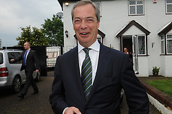***NOTE TO EDITORS ADDRESS VISIBLE IN BACKGROUND***© Licensed to London News Pictures. 26/05/2014 Exclusive pictures of Nigel Farage this morning outside his Biggin Hill home in Kent. Nigel Farage returning home this morning (26.05.14) after a great night for his UKIP party in the European elections. Photo credit :Grant Falvey/LNP