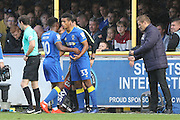 AFC Wimbledon striker Lyle Taylor (33) comes on as a sub during the EFL Sky Bet League 1 match between AFC Wimbledon and Gillingham at the Cherry Red Records Stadium, Kingston, England on 1 October 2016. Photo by Stuart Butcher.