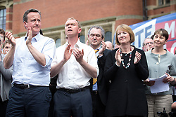© Licensed to London News Pictures . 22/06/2016 . Birmingham , UK . DAVID CAMERON , TIM FARRON , HARRIETT HARMAN and CAROLINE LUCAS . British Conservative Party Prime Minister David Cameron , Tim Farron and Paddy Ashdown from the Liberal Democrat Party and Harriet Harman from the Labour Party , attend a joint rally at Birmingham University in support of the REMAIN in EU campaign , ahead of referendum polling opening tomorrow morning (23rd June 2016) . Photo credit: Joel Goodman/LNP