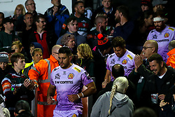 Dave Dennis of Exeter Chiefs leads the team out at Leicester Tigers - Mandatory by-line: Robbie Stephenson/JMP - 27/09/2019 - RUGBY - Welford Road - Leicester, England - Leicester Tigers v Exeter Chiefs - Premiership Rugby Cup