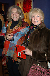 Left to right, Artist CHARMIAN CAMPBELL and PATRICIA COOK at a private view sculptures, drawings and Maquettes by Aly Brown held at Lucy B Campbell Fine Art, 123 Kensington Church Street, London W8 on 22nd November 2005.<br />