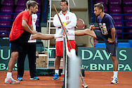 (L) Lukasz Kubot & (C) trainer assistant Aleksander Charpantidis & (R) Michal Przysiezny all from Poland while traning session two days before the BNP Paribas Davis Cup 2013 between Poland and Australia at Torwar Hall in Warsaw on September 11, 2013.<br /> <br /> Poland, Warsaw, September 11, 2013<br /> <br /> Picture also available in RAW (NEF) or TIFF format on special request.<br /> <br /> For editorial use only. Any commercial or promotional use requires permission.<br /> <br /> Photo by © Adam Nurkiewicz / Mediasport