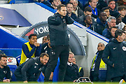 Derby County Manager Frank Lampard sees his side lose during the EFL Cup 4th round match between Chelsea and Derby County at Stamford Bridge, London, England on 31 October 2018.