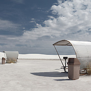 Picnic tables at barren, other-worldly White Sands National Monument, New Mexico.