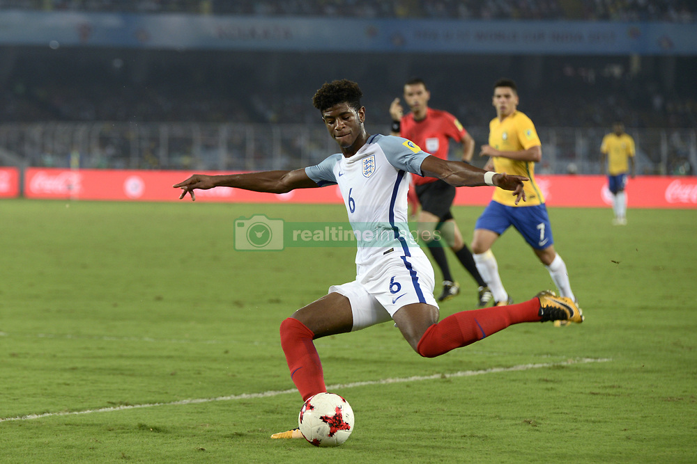 October 25, 2017 - Kolkata, West Bengal, India - England Jonathan Panzo (jersey 6) in action during the FIFA U 17 World Cup India 2017 Semi Final match in Kolkata. Players of England and Brazil in action during the FIFA U 17 World Cup India 2017 Semi Final match on October 25, 2017 in Kolkata. (Credit Image: © Saikat Paul/Pacific Press via ZUMA Wire)