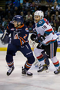 KELOWNA, CANADA - MARCH 25:  Carsen Twarynski #18 of the Kelowna Rockets, Devan Harrison #2 of the Kamloops Blazers at the Kelowna Rockets game on March 24, 2017 at Prospera Place in Kelowna, British Columbia, Canada.  (Photo By Cindy Rogers/Nyasa Photography,  *** Local Caption ***