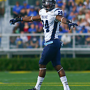 University of Maine cornerback Khari Al-Mateen (24) direct traffic in second quarter of a Week 6 NCAA football game against Delaware.