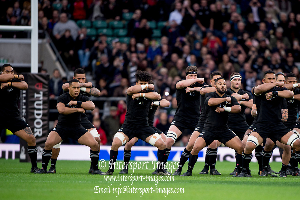 "Twickenham, Surrey. England.  All Blacks, issue the Maori Challenge ""Haka""   during the Killik Cup, Barbarians vs New Zealand. Twickenham. UK<br /> <br /> Saturday  04.11.17<br /> <br /> [Mandatory Credit Peter SPURRIER/Intersport Images]"