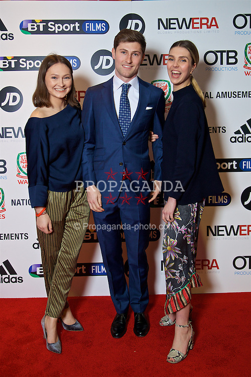 LONDON, ENGLAND - Monday, February 27, 2017: Wales' Ben Davies and his sisters attends the premier of Don't Take Me Home - the incredible true story of Wales' Euro 2016 at the Vue Cinema in Leicester Square. (Pic by David Rawcliffe/Propaganda)