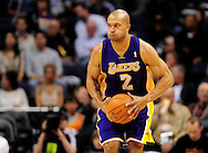 Feb. 19, 2012; Phoenix, AZ, USA;  Los Angeles Lakers guard Derek Fisher (2)  reacts on the court while playing Phoenix Suns at the US Airways Center.  The Suns defeated the Lakers 102-90. Mandatory Credit: Jennifer Stewart-US PRESSWIRE.