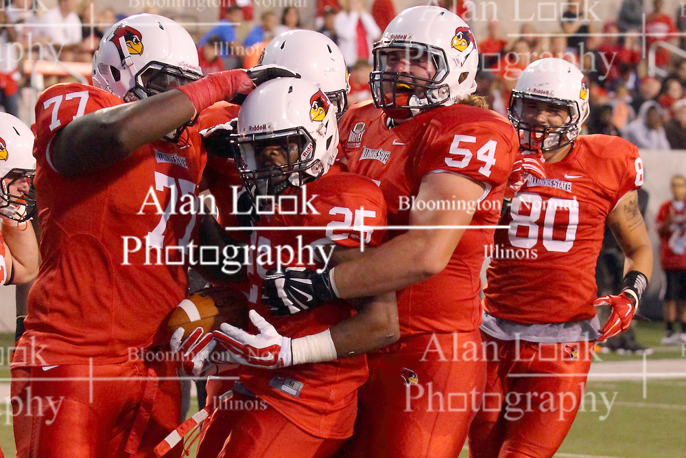 06 Sep 2014:  Kyle Avaloy, Marshaun Coprich, Mark Spelman, James O'Shaughnessy during a non-conference NCAA football game between the Delta Devils of Mississippi Valley State and the Redbirds of Illinois State at Hancock Stadium in Normal Il