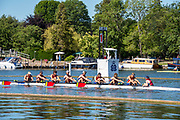 Henley on Thames, England, United Kingdom, 4th July 2019, Henley Royal Regatta, Princess Elizabeth Challenge Cup, Scotch College, Melbourne AUS,  passing the one mile and one eight barrier,  Henley Reach, [© Peter SPURRIER/Intersport Image]<br /> <br /> 10:36:33 1919 - 2019, Royal Henley Peace Regatta Centenary,